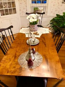 """dr dimes dining 62""""porringer dinning table black crackle legs and chair serpenti"""
