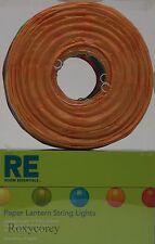 Room Essentials 10 Count Paper Orange Yellow Lantern String Lights Green Wire