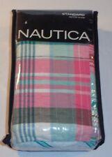 New Nautica Sutter Creek-Quilted Standard Sham-Pink/Aqua/white plaid-100% Cotton