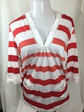 NWT NEW YORK & COMPANY WOMEN RED WHITE STRIPED HOODED V-NECK TOP POCKETS L