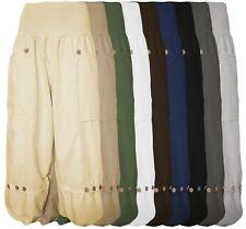 Leinenhose Damen Kurz - Capri Pumphose - 7/8 Sommerhose 100% Leinen weit leicht