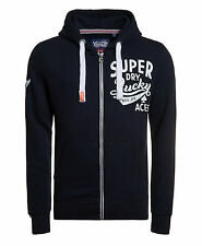 Neuer Herren Superdry Lucky Aces Zip Hoodie Truest Navy