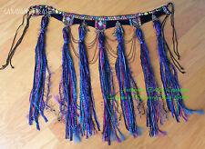 Blue Fringe-Tassel Belt Gypsy Tribal Fusion Belly Dance ATS Burlesque, Gothic