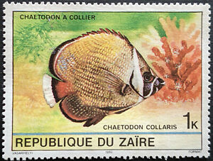 Stamp Zaire SG1017 1980 1K Red Tailed Butterflyfish Mint Hinged