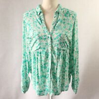 $68 Anthropologie Maeve Womens Floral Shirt Blouse Top Buttondown Green Sz Small