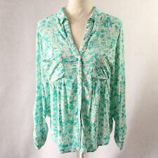 $68 Anthropologie Maeve Womens Floral Shirt Blouse Top Buttondown Green Sz Small