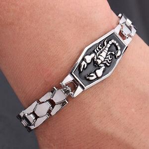 New Men Titanium Steel Scorpion Motorcycle Chain Bangle Bracelet Wristband S HL