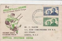 New Zealand 1944 childrens health camps souvenir issue  stamps cover ref 21485