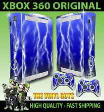 XBOX 360 ORIGINAL BLUE LIGHTNING ELECTRIC STORM LIGHTENING SKIN X 2 PAD SKINS