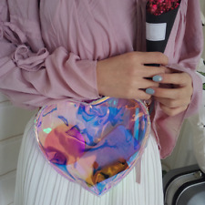 Cute Girl Messenger Bag Laser Transparent Packet Heart-Shaped Jelly Chain Pack