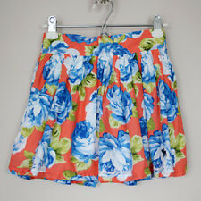 Abercrombie & Fitch Women's  Floral Mini Skirt Coral White Blue Sz S NWT