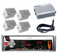 New Marine KMR-D562BT CD MP3 Pandora Radio Stereo + 400W Amp 4 Speakers +Antenna