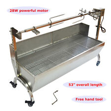"""46"""" Large Stainless Steel BBQ,Pig,Lamb,Goat,Chicken Spit Roaster,Rotisserie Spit"""