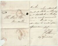 """1831 NEWCASTLE 5"""" CLAUSE POST & No 1 R/H C HARVEY LETTER TO T WARD NEWCASTLE"""