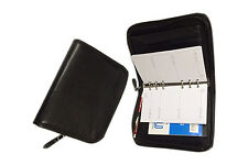 A6 Zipped Ring Binder in PU Leather Black colour with 6 Rings 22mm dia. (9985W )