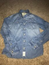 Men's Abercrombie & Fitch Medium Wash Button Front Down Chambray Top Medium M