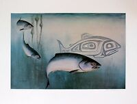 Sue Coleman Hand Signed Numbered Limited Edition Artist's Proof Salmon 1986