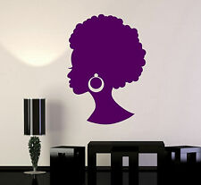 Vinyl Wall Decal Black Lady Beauty Salon African Woman Hairstyle Stickers ig4884