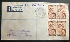 1948 Turks Island first day cover King George VI Royal Silver Wedding To Canada