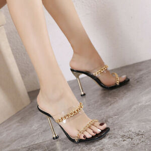 Ladies Sexy Square Open Toe High Heel Mules Clear Chain Stilettos Slip On Sandal
