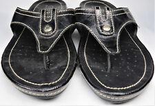 GEOX Respira Womens Sandals Mule Slip-on Low-Heel Summer Black Leather US 10