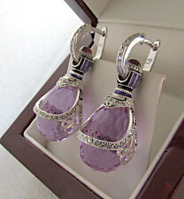 SUPERB RUSSIAN AMETHYST MADE OF SOLID STERLING SILVER 925 EARRINGS w/ ENAMEL