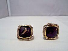 David Yurman SS & 18K 14MM Smoky Quartz  & Diamond  Earrings