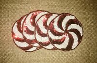 New Christmas Holiday Decor Peppermint Candy Beaded & Sequined Set Of 4