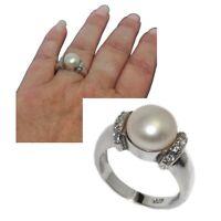 Bague en argent massif 925 perle de culture et zirconium blanc T 52 bijou