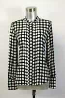 NWT ANN TAYLOR Geometric Printed Shirt Top Blouse Pleated Button-Up Modern XS