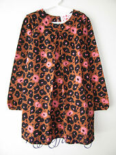 HANNA ANDERSSON Charming Pleat Front Dress Pecan Floral Leopard 120 6-7 NWT