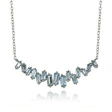 Sterling Silver Blue Topaz Baguette Geometric Frontal Necklace