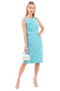 RRP€1960 OSCAR DE LA RENTA Silk Taffeta Sheath Dress Size 6 S Folded Trim Belted