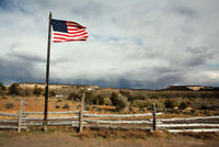 American Flag Flying in Rural Landscape Photo Art Print Poster 18x12 inch