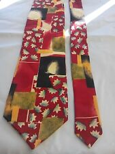 Pierre Cardin Men's Vintage Tie in a Red Black and Gold Abstract Pattern
