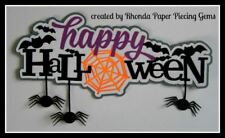 Happy Halloween paper piecing Title Premade Scrapbook Pages Album Card by Rhonda