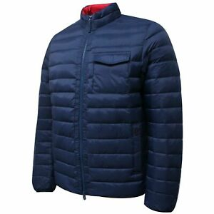 Hackett Mens Lightweight Down Jacket Zip Up Coat Navy HM402380 595