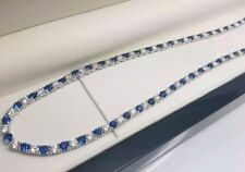 White gold finish blue sapphire and created diamond tennis necklace free postage
