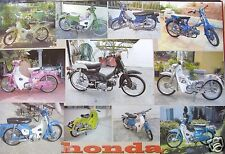 HONDA CHALY COLLAGE MOTORBIKE POSTER FROM ASIA-11 Colorful Motorcycles,CF50,CF70