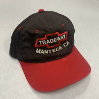 Manteca Tradeway Chevrolet CA Red Black Bowtie Hat 1990s Vintage Dealership GA