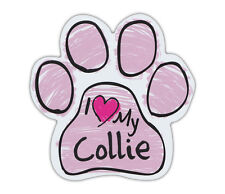 Pink Scribble Paws: I Love My Collie (Border) | Dog Paw Shaped Car Magnets