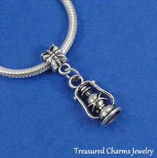 SILVER OIL LANTERN Camping Dangle Bead CHARM fits EUROPEAN Bracelet