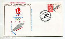 FRANCE FDC premier jour, JEUX OLYMPIQUES ALBERTVILLE, SAUT, timbre 2674