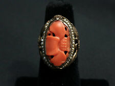 Beautiful Antique Carved Coral & Gilt Silver Pearl Carved Flower Ring Size 5 1/2