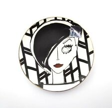 ELLE DECOR Round Jewelry Trinket Dish Tray Ceramic ~ Art Deco Ladies Face ~ New
