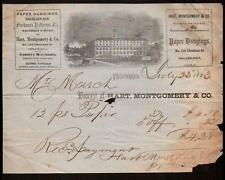 1853 Philadelphia - Hart Montgomery & Co Wall Pager Hangings RARE Letter Head