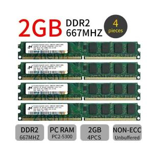 8GB Micron 4x 2GB DDR2 667MHz PC2-5300U 240Pin Dimm intel Desktop Memory RAM ZT