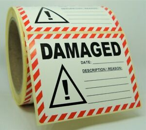 DAMAGED Labels Stickers, MEDIUM 100x75mm, Packaging Warehouse Store 100X75-DAM