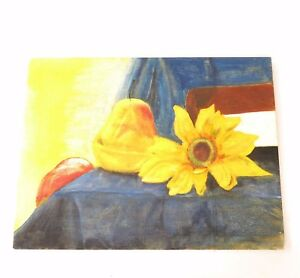 Vintage Still Life Painting On Wood Signed Sunflowers Pear Bright Cheery Colors
