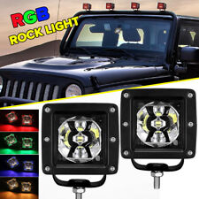 "3"" LED Work Rock Light Bar Pods RGB Strobe Color Changing Driving Offroad Truck"
